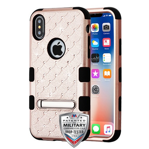 MyBat FullStar TUFF Hybrid Protector Cover (with Magnetic Metal Stand)[Military-Grade Certified] for Apple iPhone XS/X - Rose Gold / Black
