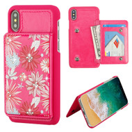 MyBat Flip Wallet Executive Protector Cover (PC Case with Snap Fasteners) for Apple iPhone XS/X - Spring Daisies Diamante / Hot Pink