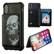 MyBat Flip Wallet Executive Protector Cover(with Snap Fasteners) for Apple iPhone XS/X - Vampire / Black