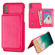 MyBat Flip Wallet Executive Protector Cover (PC Case with Snap Fasteners) for Apple iPhone XS/X - Hot Pink