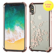 MyBat SPOTS Electroplated Premium Candy Skin Cover for Apple iPhone XS/X - Rose Gold Glassy Spring Flowers