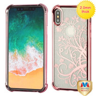 MyBat Sheer Glitter Premium Candy Skin Cover for Apple iPhone XS/X - Rose Gold Electroplating / Maple Vine