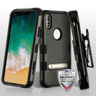 MyBat TUFF Hybrid Protector Case (with Stand)[Military-Grade Certified](with Black Horizontal Holster) for Apple iPhone XS/X - Natural Black / Black