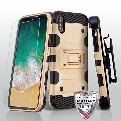 MyBat 3-in-1 Storm Tank Hybrid Protector Cover Combo (with Black Holster)(Tempered Glass Screen Protector)[Military-Grade Certified] for Apple iPhone XS/X - Gold / Black