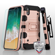 MyBat 3-in-1 Storm Tank Hybrid Protector Cover Combo (with Black Holster)(Tempered Glass Screen Protector)[Military-Grade Certified] for Apple iPhone XS/X - Rose Gold / Black