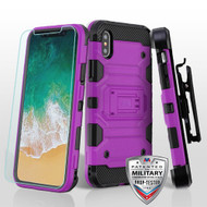 MyBat 3-in-1 Storm Tank Hybrid Protector Cover Combo (with Black Holster)(Tempered Glass Screen Protector)[Military-Grade Certified] for Apple iPhone XS/X - Purple / Black