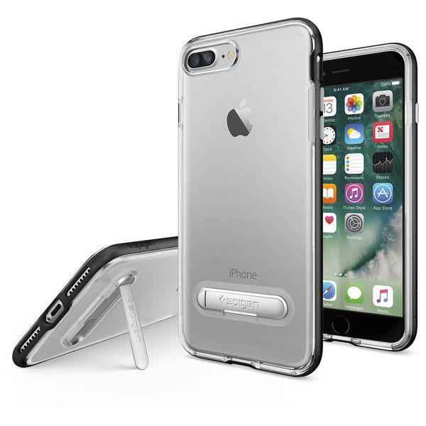 Apple iPhone 7 Plus / iPhone 8 Plus Spigen Crystal Hybrid Case With Kickstand - Black