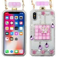 MyBat Perfume Bottle Candy Skin Cover(with Chain) for Apple iPhone XS/X - Little Flowers / Baby Purple Crystals Diamante
