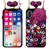 MyBat Perfume Bottle Candy Skin Cover(with Chain) for Apple iPhone XS/X - Colorful Rhinestones / Hot Pink Rose