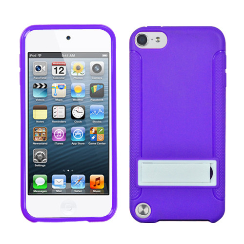 MyBat Gummy Cover (with Stand) for Apple iPod touch (5th generation) - Solid White / Solid Purple