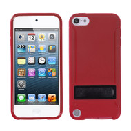 MyBat Gummy Cover (with Stand) for Apple iPod touch (5th generation) - Solid Black / Solid Red