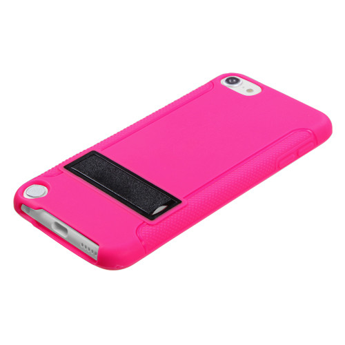 MyBat Gummy Cover (with Stand) for Apple iPod touch (5th generation) - Solid Black / Solid Hot Pink