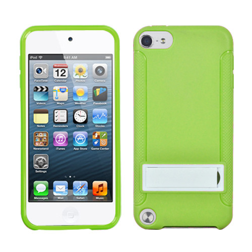 MyBat Gummy Cover (with Stand) for Apple iPod touch (5th generation) - Solid White / Solid Green