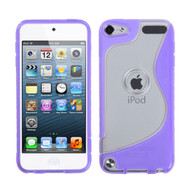MyBat Gummy Cover (S Shape) for Apple iPod touch (5th generation) - Transparent Clear / Purple