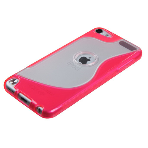 MyBat Gummy Cover (S Shape) for Apple iPod touch (5th generation) - Transparent Clear / Hot Pink