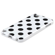 MyBat Candy Skin Cover for Apple iPod touch (5th generation) - Black Polka Dots / White