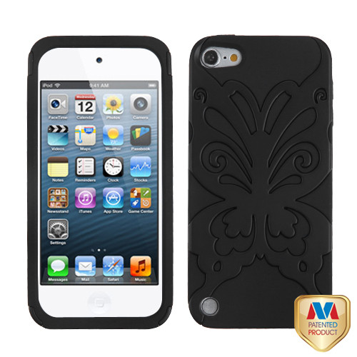 MyBat Butterflykiss Hybrid Protector Cover for Apple iPod touch (5th generation) - Rubberized Black / Black