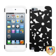 MyBat Flowerpower Hybrid Protector Cover for Apple iPod touch (5th generation) - Rubberized Black / Solid White