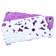 MyBat Flowerpower Hybrid Protector Cover for Apple iPod touch (5th generation) - Rubberized Solid Ivory White / Electric Purple