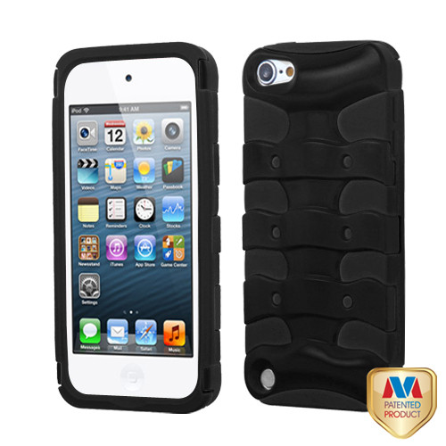 MyBat Ribcage Hybrid Protector Cover for Apple iPod touch (5th generation) - Rubberized Black / Black