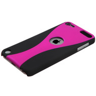 MyBat Wave Back Protector Cover (Rubberized) for Apple iPod touch (5th generation) - Hot Pink / Black