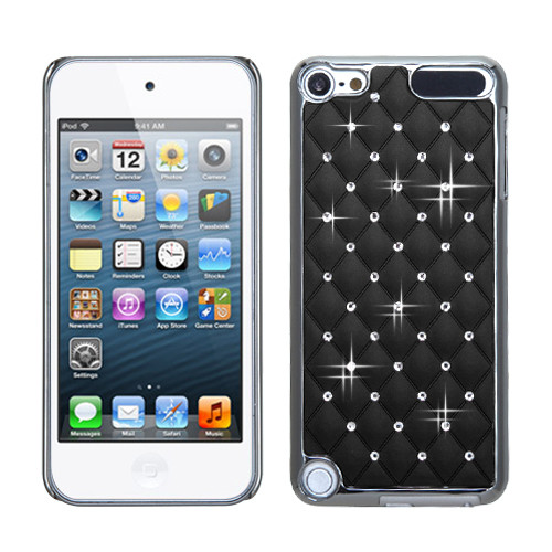 MyBat Plating Luxurious Lattice Alloy Elite Dazzling Back Protector Cover with Diamonds for Apple iPod touch (5th generation) - Black Silver
