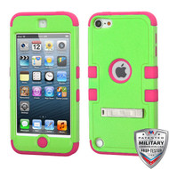 MyBat TUFF Hybrid Protector Cover (with Stand)[Military-Grade Certified] for Apple iPod touch (5th generation) - Natural Pearl Green / Electric Pink