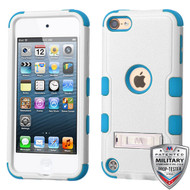 MyBat TUFF Hybrid Protector Cover (with Stand)[Military-Grade Certified] for Apple iPod touch (6th generation) - Natural Cream White / Tropical Teal
