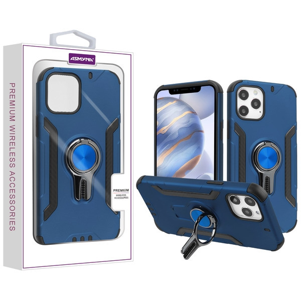 Asmyna Hybrid Protector Cover (with Ring Stand) for Apple iPhone 12 (6.1) - Ink Blue / Black