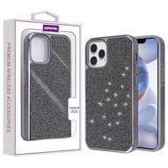 Asmyna Encrusted Rhinestones Hybrid Case for Apple iPhone 12 (6.1) - Electroplated Black / Black