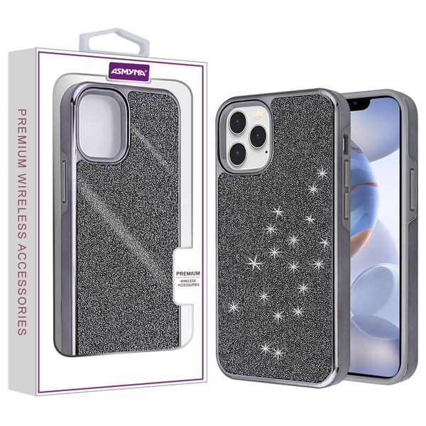 Asmyna Encrusted Rhinestones Hybrid Case for Apple iPhone 12 (6.1) - Electroplated Black / Black