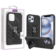 Asmyna Hybrid Case (with Stand) for Apple iPhone 12 (6.1) - Black / Black
