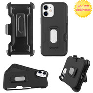 Asmyna Grip Stand Protector Case Combo (with Black Holster)(with Card Wallet) for Apple iPhone 12 mini (5.4) - Black / Black