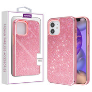 Asmyna Encrusted Rhinestones Hybrid Case for Apple iPhone 12 mini (5.4) - Electroplated Pink / Pink