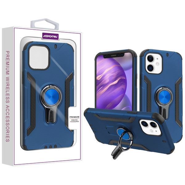 Asmyna Hybrid Protector Cover (with Ring Stand) for Apple iPhone 12 mini (5.4) - Ink Blue / Black