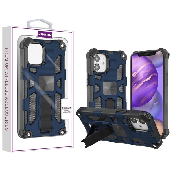 Asmyna Sturdy Hybrid Protector Cover (with Stand) for Apple iPhone 12 mini (5.4) - Ink Blue / Black