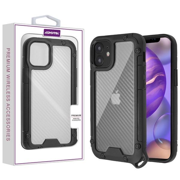 Asmyna Hybrid Case for Apple iPhone 12 mini (5.4) - Transparent Clear Carbon Fiber Texture / Black