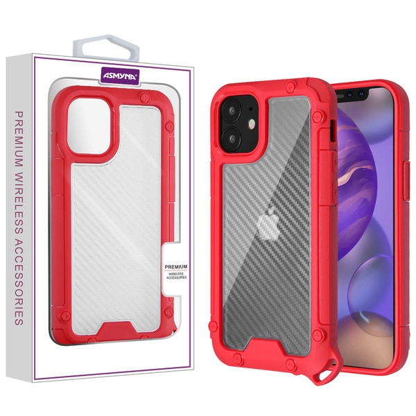 Asmyna Hybrid Case for Apple iPhone 12 mini (5.4) - Transparent Clear Carbon Fiber Texture / Red