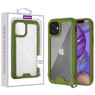Asmyna Hybrid Case for Apple iPhone 12 mini (5.4) - Transparent Clear Carbon Fiber Texture / Green