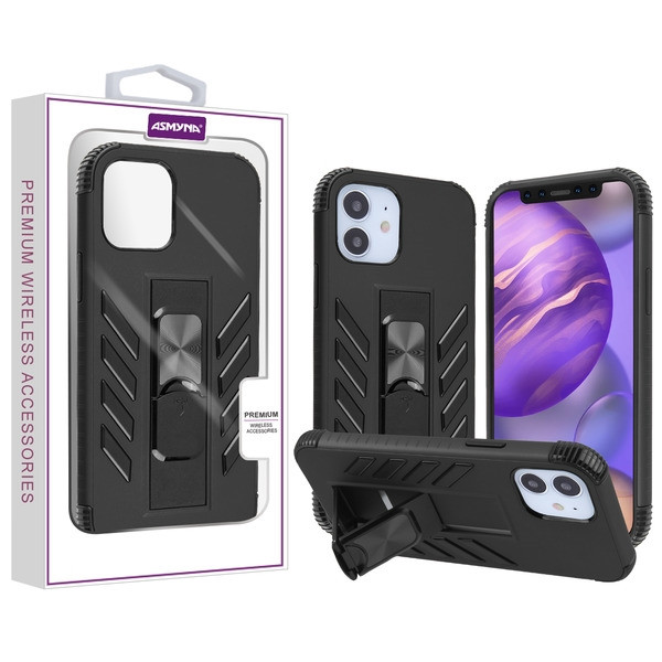 Asmyna Hybrid Case (with Stand) for Apple iPhone 12 mini (5.4) - Black / Black