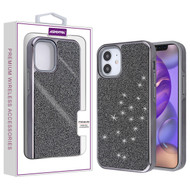 Asmyna Encrusted Rhinestones Hybrid Case for Apple iPhone 12 mini (5.4) - Electroplated Black / Black