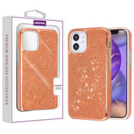 Asmyna Encrusted Rhinestones Hybrid Case for Apple iPhone 12 mini (5.4) - Electroplated Rose Gold / Rose Gold
