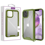 Asmyna Hybrid Case for Apple iPhone 12 Pro Max (6.7) - Transparent Clear Carbon Fiber Texture / Green