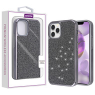 Asmyna Encrusted Rhinestones Hybrid Case for Apple iPhone 12 Pro Max (6.7) - Electroplated Black / Black