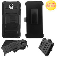 Asmyna Advanced Armor Stand Protector Cover Combo (with Black Holster) for Lg X320 (Escape Plus) - Black / Black