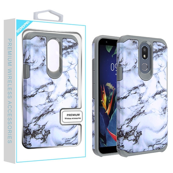 Asmyna Astronoot Protector Cover for Lg K40 - White Marbling / Iron Grey