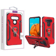 Asmyna Hybrid Protector Cover (with Ring Stand) for Lg K51 - Red / Black