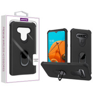 Asmyna Rubberized Hybrid Case (with Ring Stand) for Lg Reflect - Black / Black