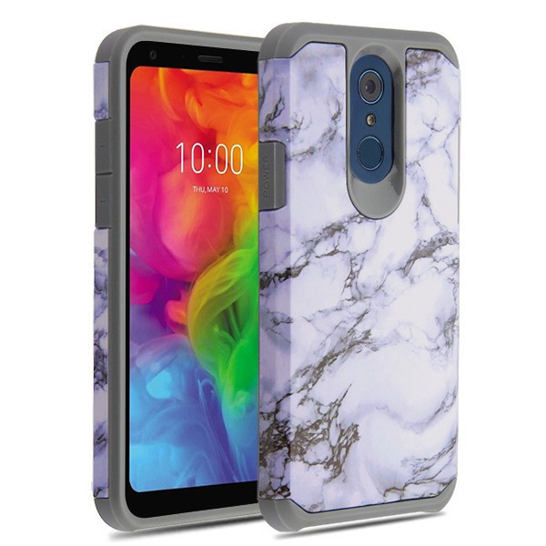 Asmyna Astronoot Protector Cover for Lg Q7+ - White Marbling / Iron Grey