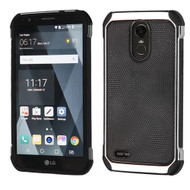 Asmyna Astronoot Protector Cover for Lg LS777 (Stylo 3) - Black Dots(Silver Plating) / Black